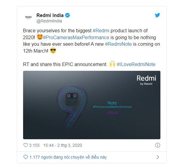 Redmi Note 9 trên Twitter Ấn Độ