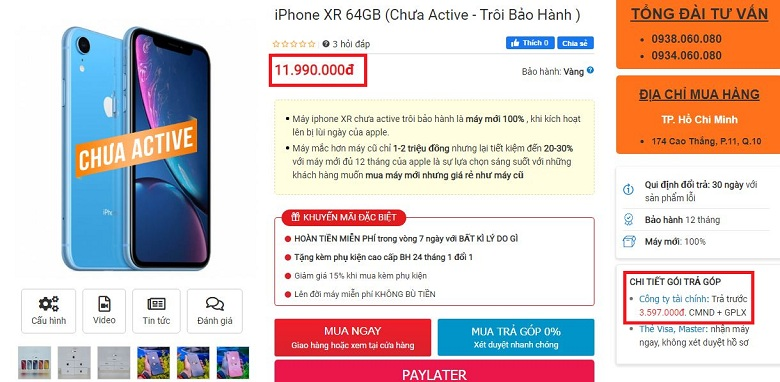 iPhone XR Chưa Active