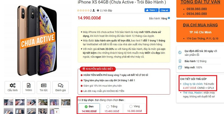 iPhone XS Chưa Active