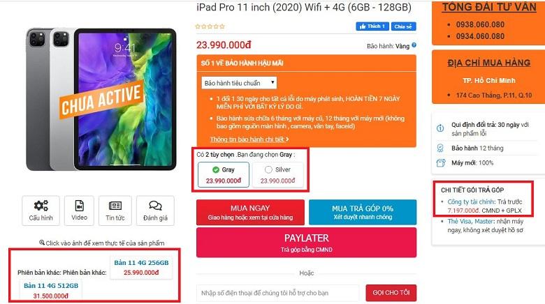 giá iPad Pro 11 inch (2020) 4G