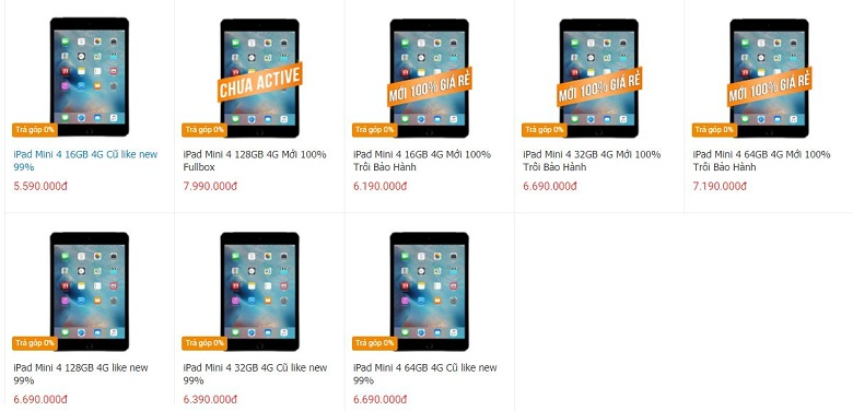 giá iPad Mini 4
