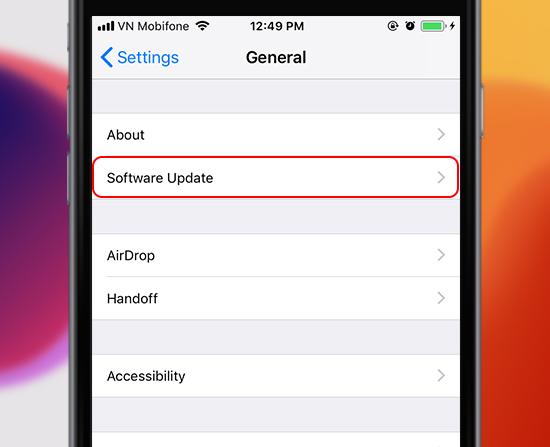 kiểm tra cập nhật iOS