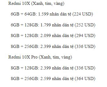 giá Redmi 10X và Redmi 10X Pro