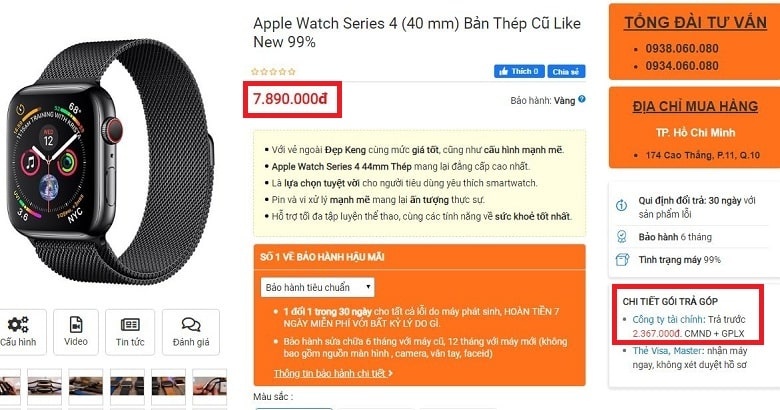 Đặt mua Apple Watch Series 4 (40 mm) Bản Thép