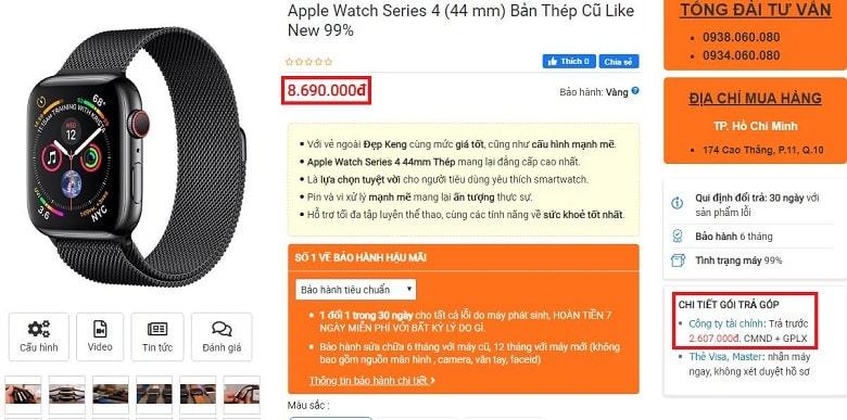 Đặt mua Apple Watch Series 4 (44 mm) Bản Thép