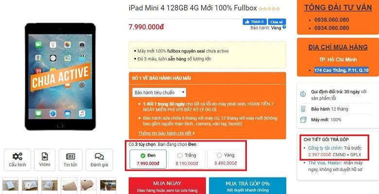 Đặt mua iPad Mini 4 128GB 4G Mới