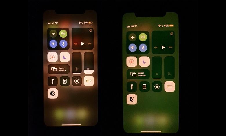 màn hình iPhone bị ám màu