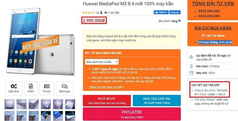 Đặt mua Huawei MediaPad M3 8.4 inch