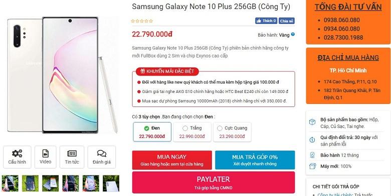 Đặt mua Galaxy Note 10 Plus Công ty
