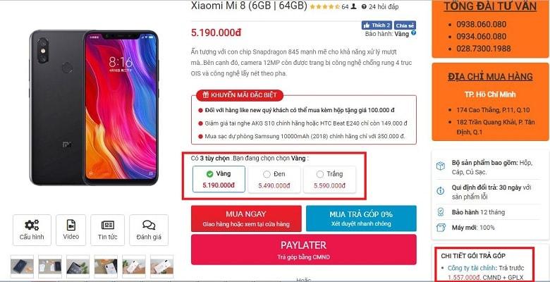 đặt mua Xiaomi Mi 8
