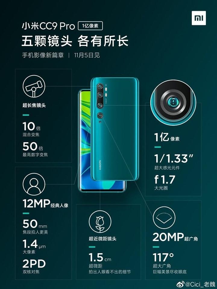 camera của Xiaomi Mi CC9 Pro