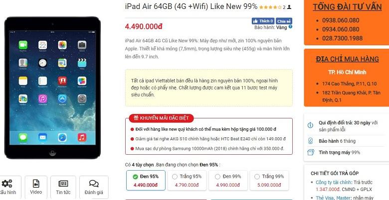 Đặt mua iPad Air 64GB
