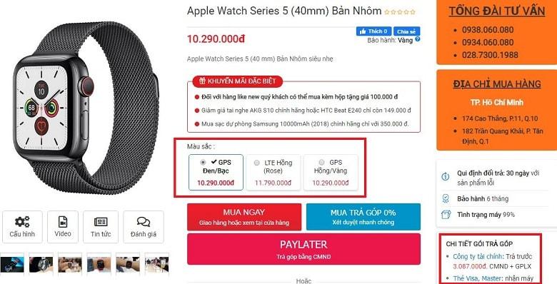 Đặt mua Apple Watch S5 (40mm)