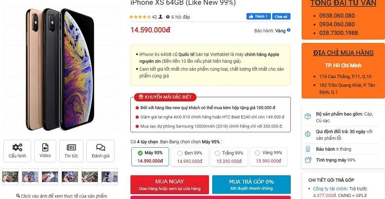 giá bán của iPhone XS