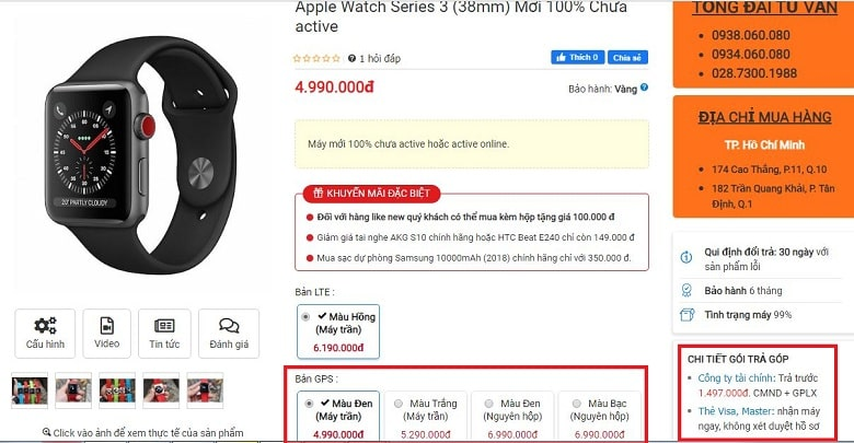 Đặt mua Apple Watch S3 LTE