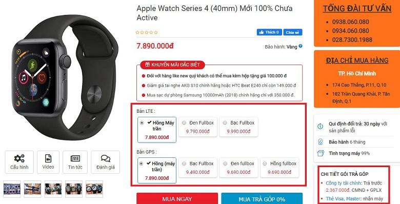 Đặt mua Apple Watch S4 LTE Chưa Active