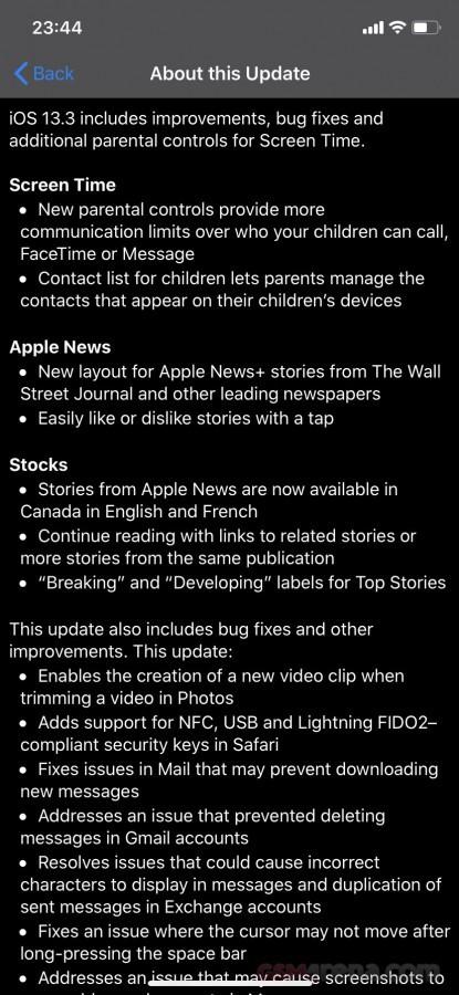 Tính năng của iOS 13.3