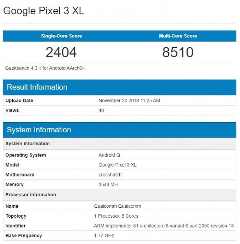 kết quả chạy thử nghiệm adroid q của google pixel 3