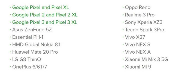 danh sách những con máy được cập nhật android q 3 beta