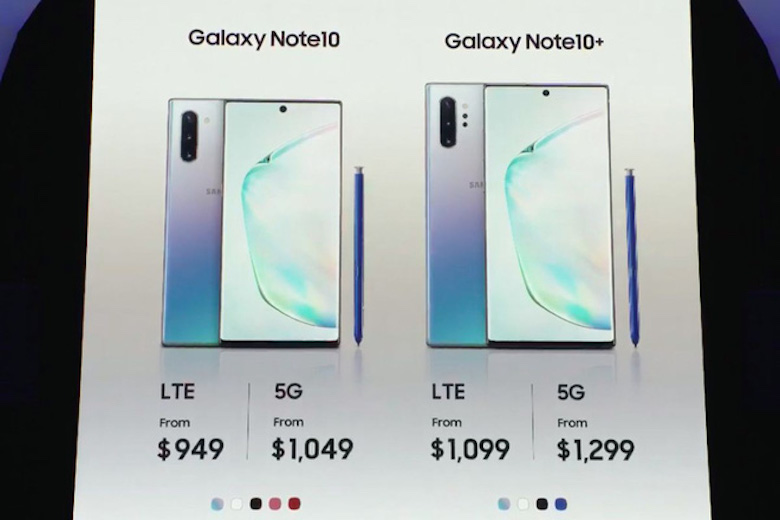 giá samsung galaxy note 10
