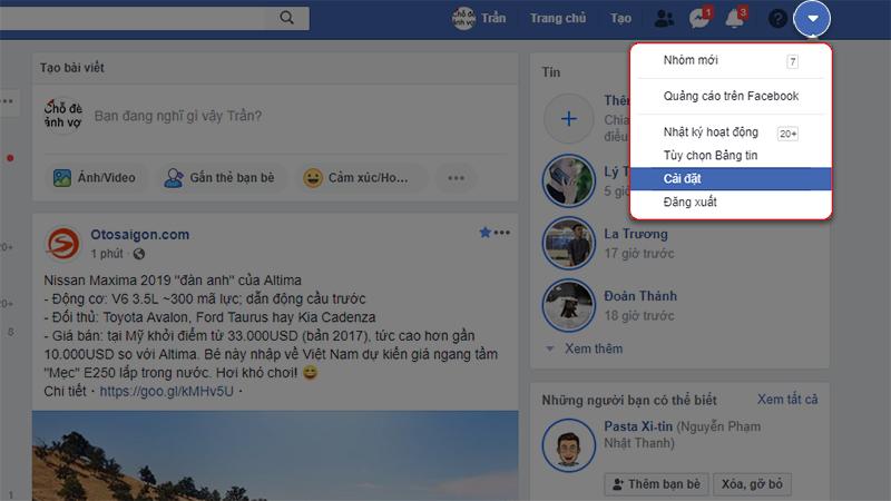 chặn bình luận tiêu cực trên facebook bước 1