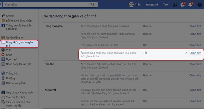 chặn bình luận tiêu cực trên facebook bước 2