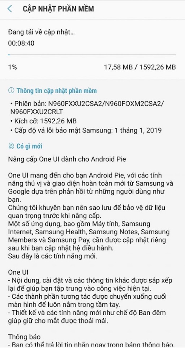 note 9 cập nhật android 9 pie