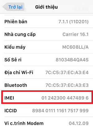 kiểm tra imei iphone 6 lock