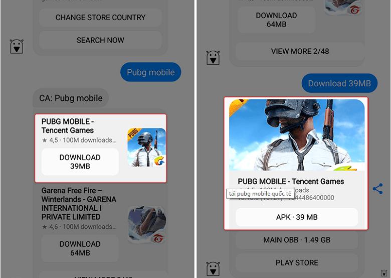 Tải game pubg, pes bị chặn trên android kết thúc