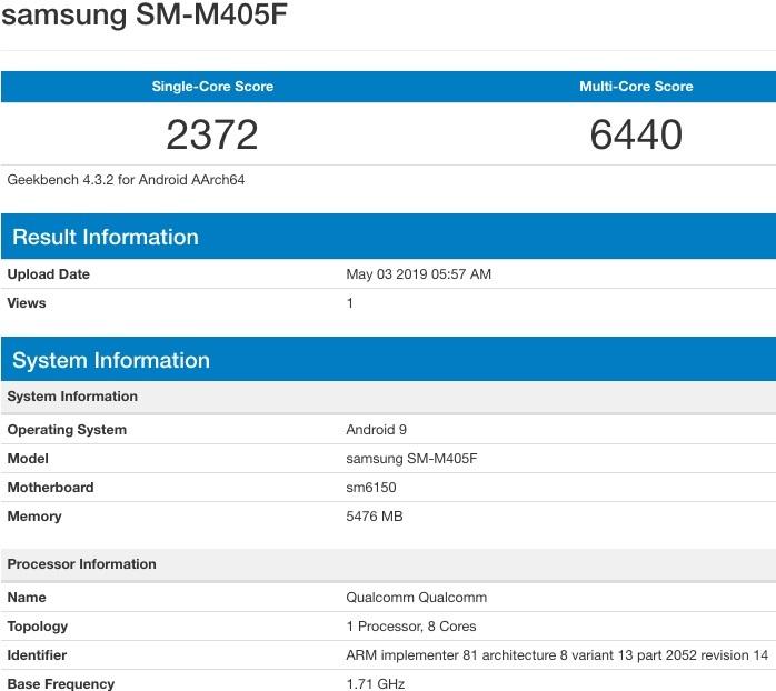 Cấu hình Samsung Galaxy M40