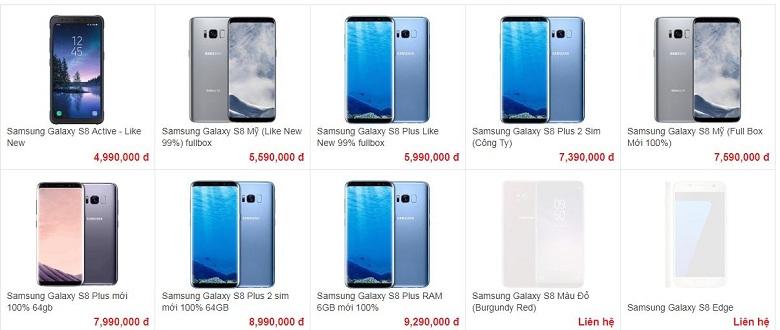 giá bán của galaxy s8
