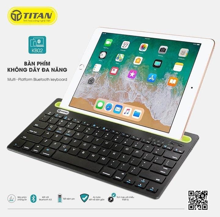 bàn phím không dây TITAN-KB02 kết nối iPad