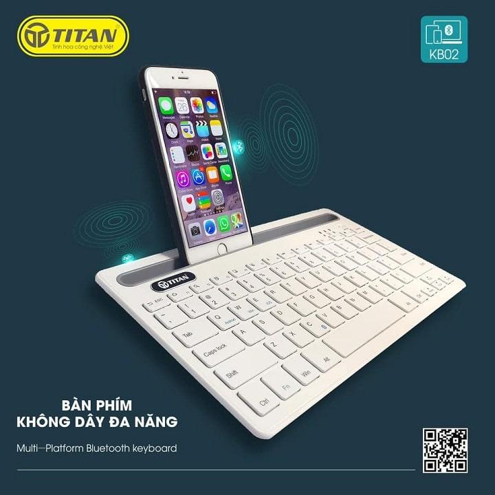 bàn phím không dây TITAN-KB02 kết nối với iPhone