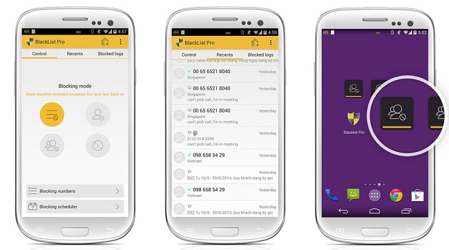 chặn cuộc gọi tin nhắn android 4