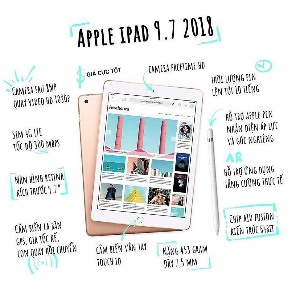Tính năng iPad 9.7 inch 32GB (2018) Gen 6 4G